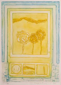 Jan Montyn - Lente. Ets in geel en blauw.