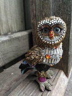 Betsy Youngquist's owl beaded sculpture Pinned by www.myowlbarn.com