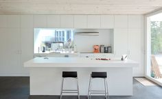 The Lakeside Private House Bellmund by EXH Design is a weather-resistant gabled home in Switzerland with a warm wooden interior Kitchen Dinning Room, Interior Minimalista, Ikea, Concrete Wood, Wall Pockets, Kitchen Interior, Decoration, Home Kitchens, Interior Architecture