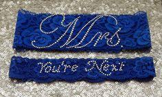 "Wedding Garter Set - Royal BLUE Bridal Garter with SILVER Rhinestone ""Mrs"" Show Garter & Rhinestone ""You're Next"" Toss Garter - other colors"