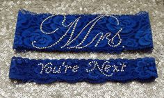 Wedding Garter Set  Royal BLUE Bridal Garter by GlitzandGarters