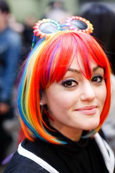 rainbow hair - kris atomic The hair is great, but I LOVE the sunglasses!