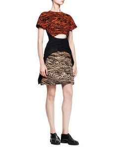 Flocked-Print Cutout Dress by Proenza Schouler at Bergdorf Goodman.