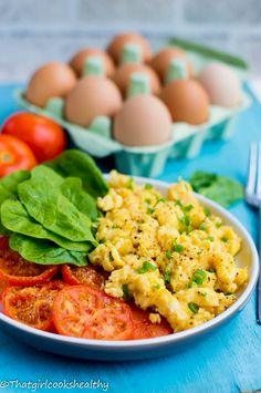 Scrambled eggs with tomatoes - a quick healthy breakfast.