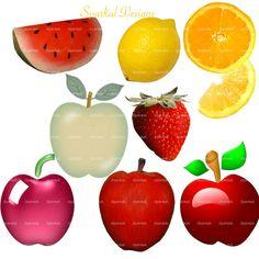 Fruit Clip Art Food Images Fruit Clipart Fruit images Instant Download Apple Watermelon Lemon Strawberry clipart Teacher clipart 185