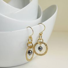 gold plated hoops with hematite by begolden   notonthehighstreet.com