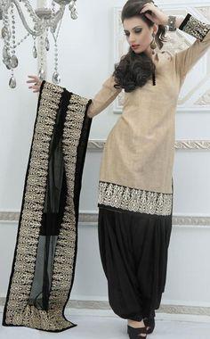 $108.19 Cream Embroidered Punjabi Salwar Kameez 23867