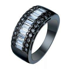 Black Gold Filled White Cubic Zirconia Ring Various Sizes | eBay
