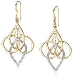 18k Yellow Gold Plated Sterling Silver Two-Tone Multi-Shaped Interlocking Dangle Earrings ** To view further for this item, visit the image link.