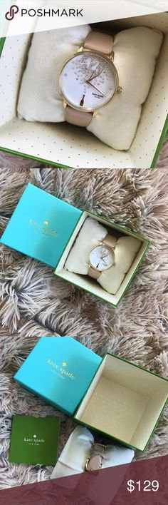 Kate Spade champagne watch gold beige Only worn a couple times   MATERIAL shiny gold plated metal with leather strap FEATURES mother of pearl dial champagne bottle at 6 o'clock mark water resistant style # ksw1015 DETAILS 34 mm case imported kate spade Accessories Watches