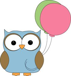 Free Cute Clip Art | Owl With Balloons Clip Art Image - cute blue owl with pink and green ...