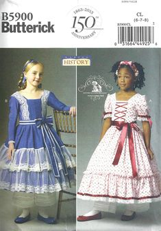 HISTORICAL COSTUME PATTERN / Dresses / Addy - Marie Grace - Cecile - Civil War Era - 1860s / Child 2 to 5 / Girl 6 to 8. $6.99, via Etsy.