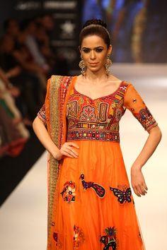 IIJW 2012: Gitanjali Asmi. Yellow Anarkali with Kutchi embroidery