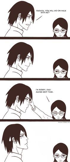 sasuke and sarada. she did the Itachi thing ; Naruto Shippuden Sasuke, Sasunaru, Naruto Sasuke Sakura, Sarada Uchiha, Naruto Cute, Naruhina, Naruto Gaiden, Narusaku, Gaara