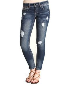 Buy Distructed Bling Sequin Trim Skinny Jean Women's Bottoms from Dollhouse. Find Dollhouse fashions & more at DrJays.com