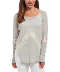 Love this Mint Lace-Chevron Scoop Neck Top by Blu Pepper on #zulily! #zulilyfinds