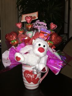 Valentines Day coffee cup candy bouquet
