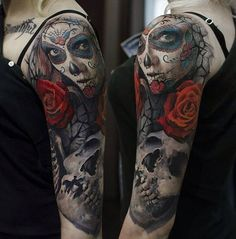 Day of the Dead Rose & Skull Arm Piece | Best tattoo ideas & designs