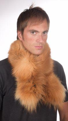 Sciarpa in vera pelliccia di volpe golden per uomo  www.amifur.it