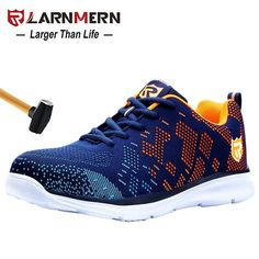 LARNMERN Lightweight Breathable Men Safety Shoes Steel Toe Work Shoes For Men Anti smashing Construction Sneaker With Reflective-in Work & Safety Boots from Shoes on AliExpress Toe Shoes For Men, Mens Work Shoes, Steel Toe Work Shoes, Steel Shoes, Women's Shoes, Casual Sneakers, Casual Shoes, Sneakers Nike, Lightweight Steel Toe Shoes
