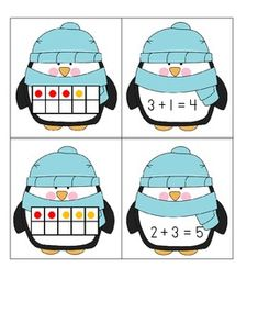 Penguins Ten Frame Addition Matching Game - Common Core - Katie Shininger - TeachersPayTeachers.com Math Resources, Math Activities, Therapy Activities, 2 Kind, Math Addition, Addition Games, Kindergarten Centers, Math Centers, Math Intervention