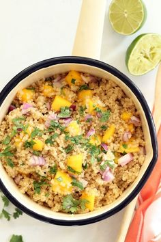 Enjoy this Pineapple Coconut Quinoa alone or as a side dish to grilled chicken or fish. The combo of flavors here is light and summery and fresh and luscious. And served with juicy ripe mango... amazing!