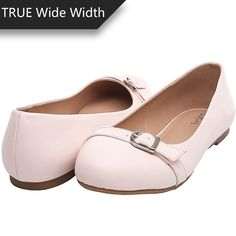 9abc93415e76 Luoika Women s Wide Width Flat Shoes - Comfortable Slip On Round Toe Ballet  Flats(PinkPU