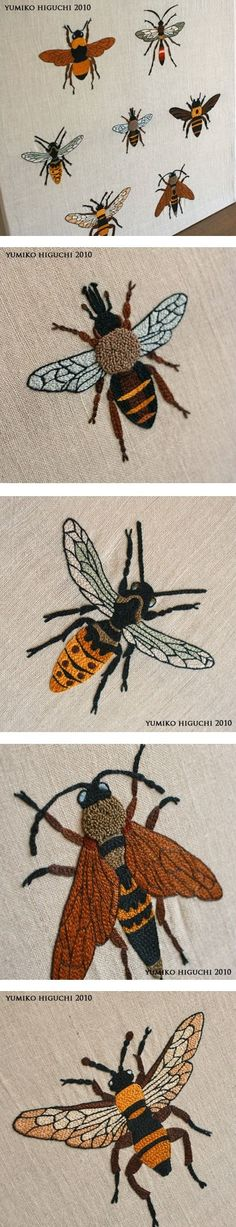 Gorgeous embroidered bees by juni