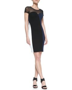 Rio Colorblocked Combo Sheath Dress, Black/White/Navy by French Connection at Neiman Marcus.
