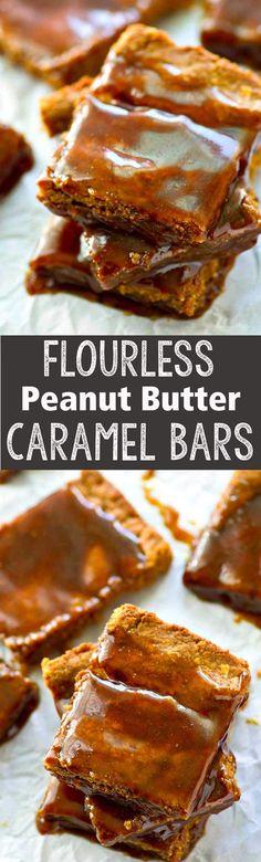 Flourless Peanut Butter Caramel Bars - Eazy Peazy Mealz