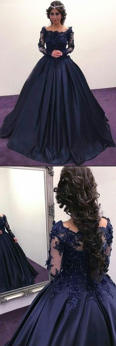 Vintage A-Line Bateau Long Sleeves Dark Blue Satin Long Prom/Evening Dress #fashion #style #Dress #promdress