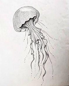 ~Graphite-Sketch 🦑 🗒️: May 2018 - Jellyfish Aquarium Drawing, Jellyfish Drawing, Watercolor Jellyfish, Jellyfish Painting, Jellyfish Tattoo, Jellyfish Quotes, Jellyfish Facts, Tattoo Watercolor, Animal Sketches