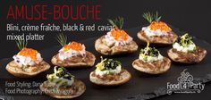 Blini mixed platter creme fraiche red and black caviar Mini Appetizers, Food Platters, Creme Fraiche, Appetisers, Caviar, Food Styling, Food Photography, Party, Red