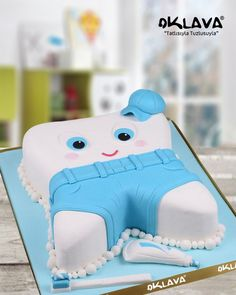 New Cake : Blue Tooth Birthday Cake, Baby Boy 1st Birthday Party, Yellow Birthday, Baby Party, Birthday Cake, Baby Shower Pasta, Baby Shower Cakes, Dental Cake, Tooth Cake, Baby Girl Cakes