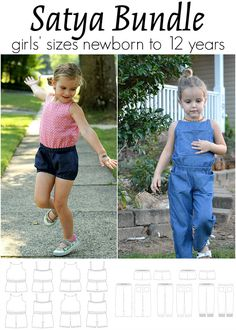 Satya Romper and Satya Pants pattern bundle for children sized newborn to 12 years.