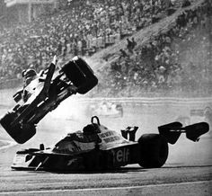 Gilles Villeneuve flies over Ronnie Peterson at    Japanese Grand Prix, Fuji Speedway, 1977. ---  Neither driver was injured.