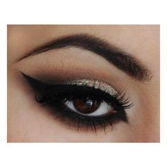 Glittery Cat Eye ❤ liked on Polyvore featuring beauty products, makeup, eyes, beauty, eye makeup and maquiagem