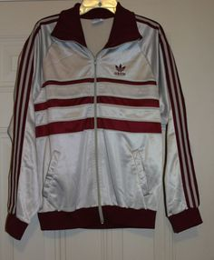 caaaff98852e vintage  80s adidas silver gray trefoil striped full zip retro track  jacketl from  68.0