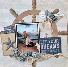 """<p>Today I am bringing you a layout using the High Tide Kaisercraft collection with the most lovely nautical themed papers just perfect for holiday, sailing pictures or even beach wedding photos. Firstly I took the Sea Map paper and added the Ships Wheel die-cut paper on foam-pads to give it <a href="""" http://www.merlyimpressions.co.uk/blog/project-portfolio/scrapbooking/high-tide-layout/ """">"""