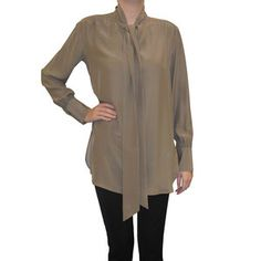 Scarf Neck Tunic Taupe, $150, now featured on Fab. By Cally Rieman
