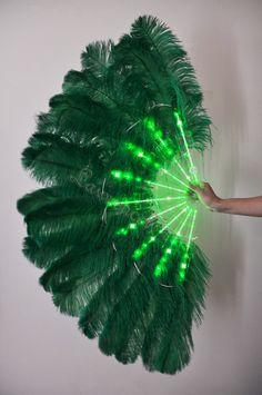Burlesque Dance Green Glittery LED Shine Bushy by lawrencelv