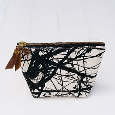 Flowie: Zipper Pouch, Tree Pattern, in Black #MarthaStewartAmericanMade #Pouch