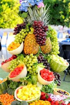 Another Fruit Display using melons as bowls and plant stands perhaps?