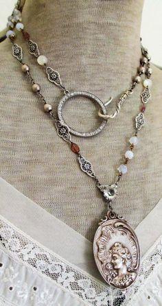 Nouveau riche - vintage assemblage double-wrap necklace with slide locket mirror…