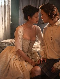 Caitriona Balfe as Claire Fraser and Sam Heughan as Jamie Fraser in Outlander (TV Series, 2014). [x]
