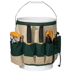 """Fiskars Garden Bucket Caddy, Bucket Not Included (9424) $12.99 (FREE ship $35 or more) fits 5 Gallon bucket, Canvas/deep pockets/ cell ph, beverage, seed packet holders.  8.9 x 10 x 13.4"""""""