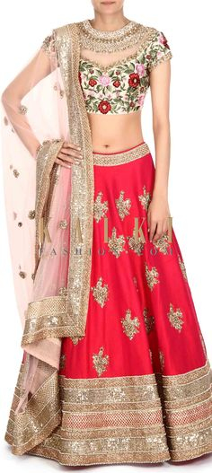 Buy this Rani pink lehenga with resham embroidered blouse only on Kalki