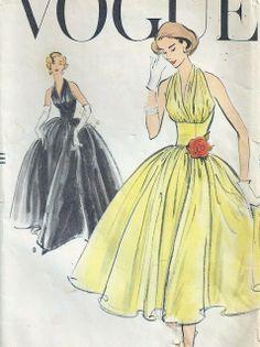 1950's dress patterns | 1950s HALTER TOP EVENING DRESS GOWN PATTERN VOGUE 9180