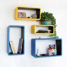 Trista - [Yellow & Blue] Rectangle Leather Wall Shelf / Bookshelf / Floating Shelf (Set of 4)
