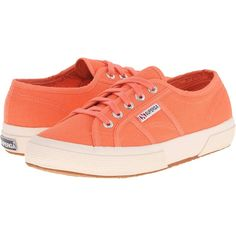 Superga 2750 Cotu Classic (Persimmon) Lace up casual Shoes ($50) ❤ liked on Polyvore featuring shoes, orange, laced shoes, superga, laced up shoes, orange shoes and traction shoes